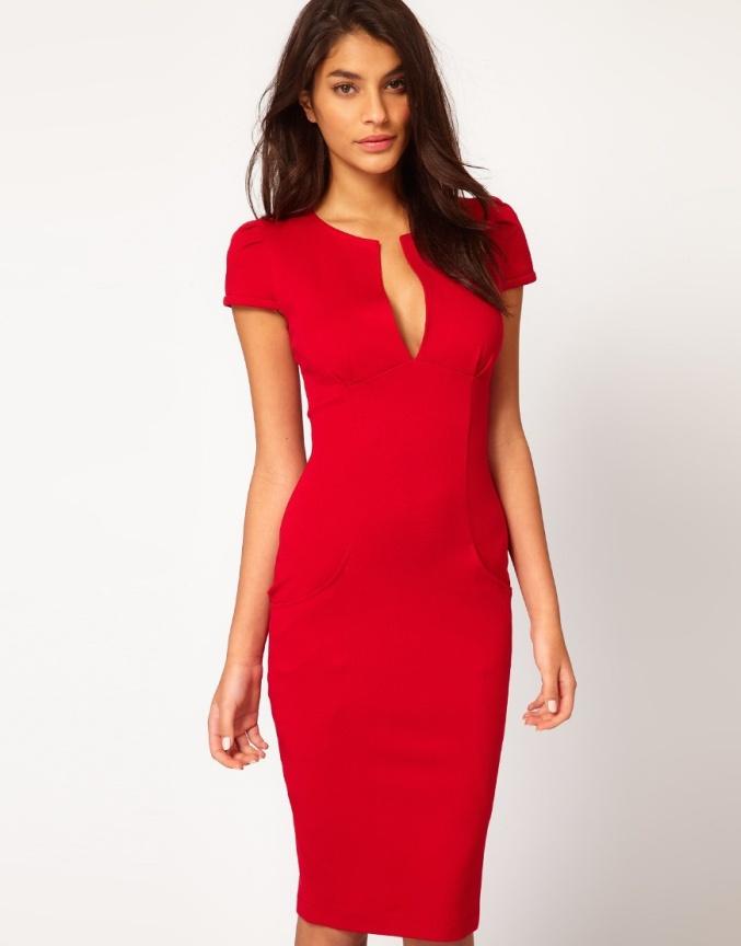 Sukienka Elegancka Dopasowana Czerwona Biała Czarna S Xxl